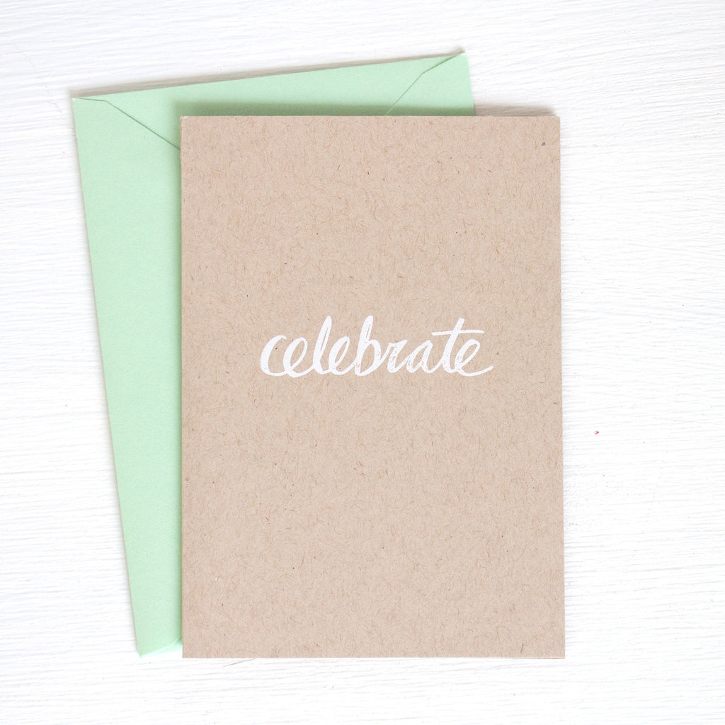 CELEBRATE kraft folded notecards