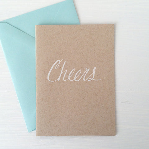 CHEERS kraft folded notecards