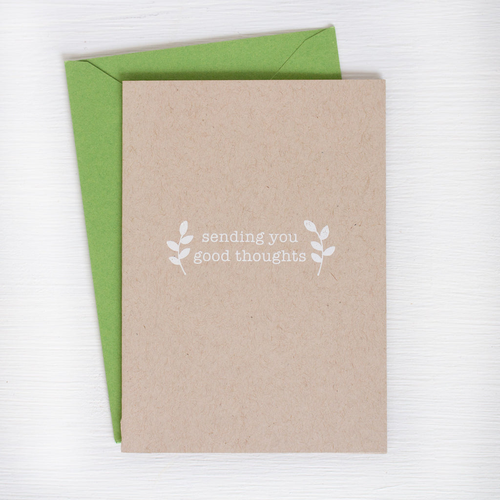 SENDING YOU GOOD THOUGHT kraft folded notecards