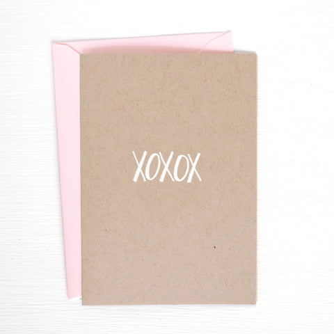 XOXOX kraft folded notecards