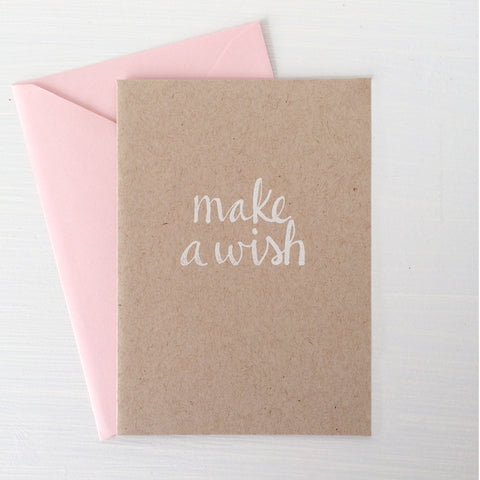 MAKE A WISH kraft folded notecards
