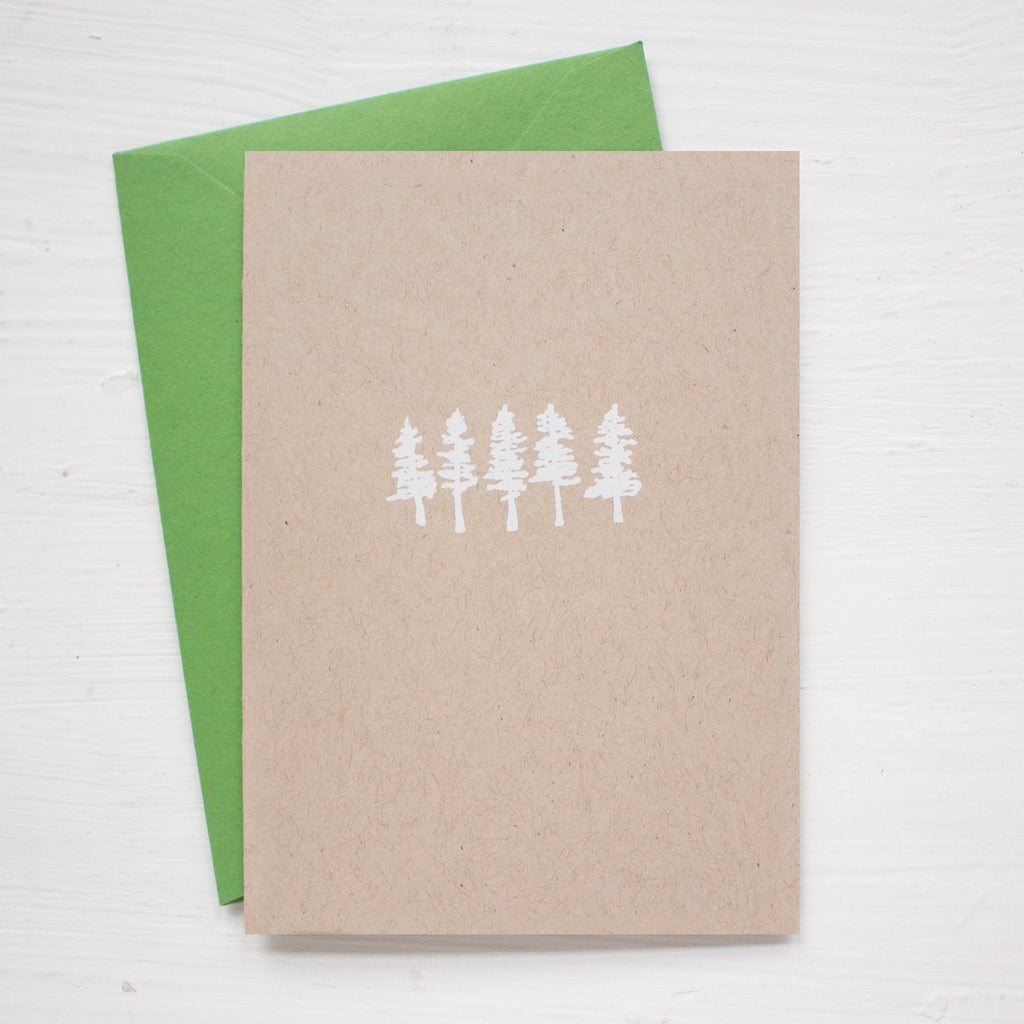 LITTLE TREES kraft folded notecards