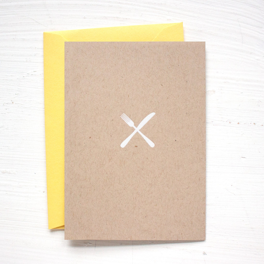 KNIFE and FORK kraft folded notecards
