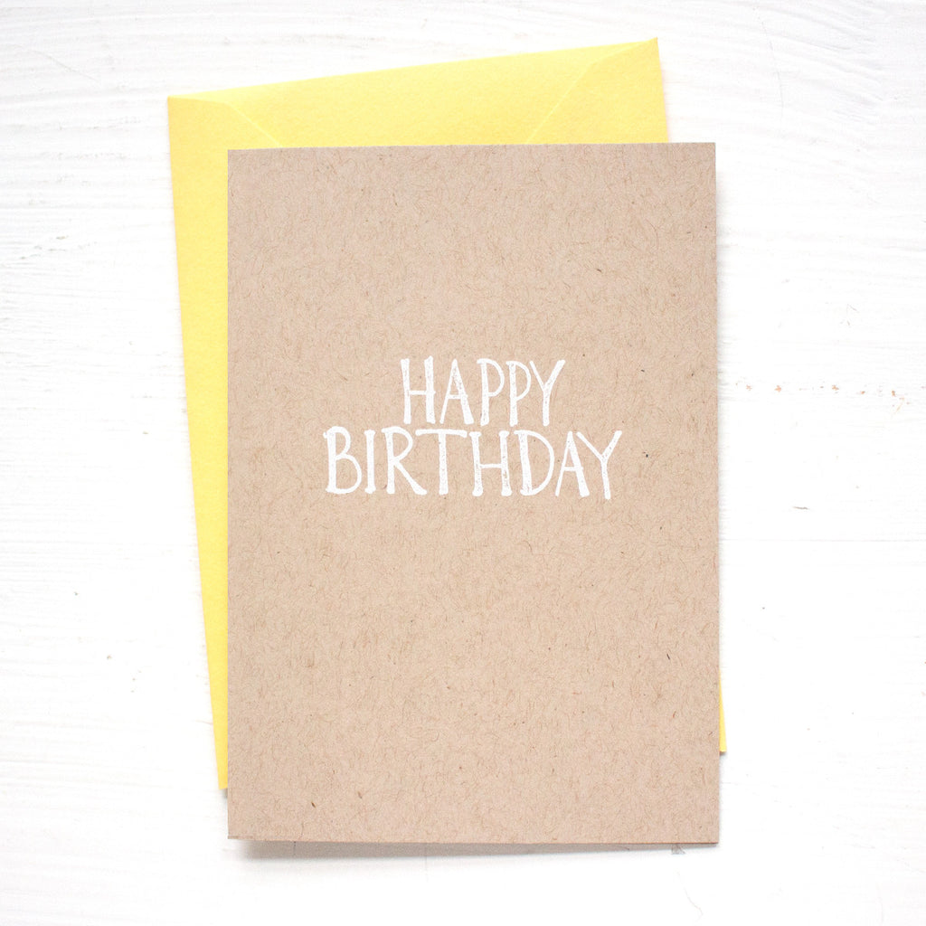 HAPPY BIRTHDAY kraft folded notecards