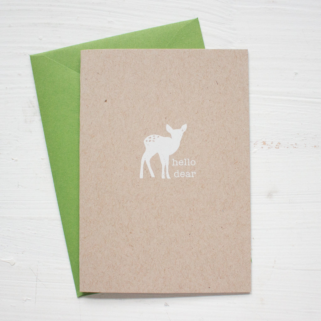HELLO DEAR kraft folded notecards