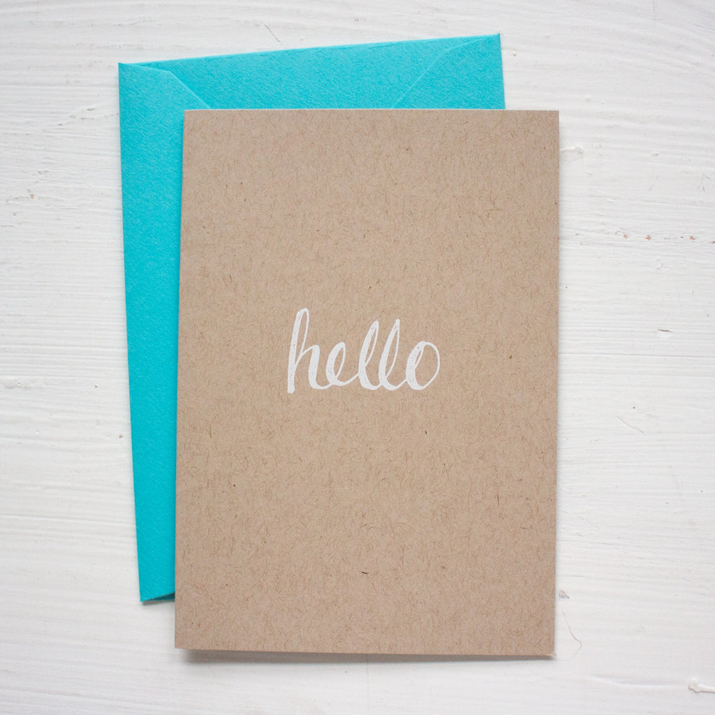HELLO kraft folded notecards