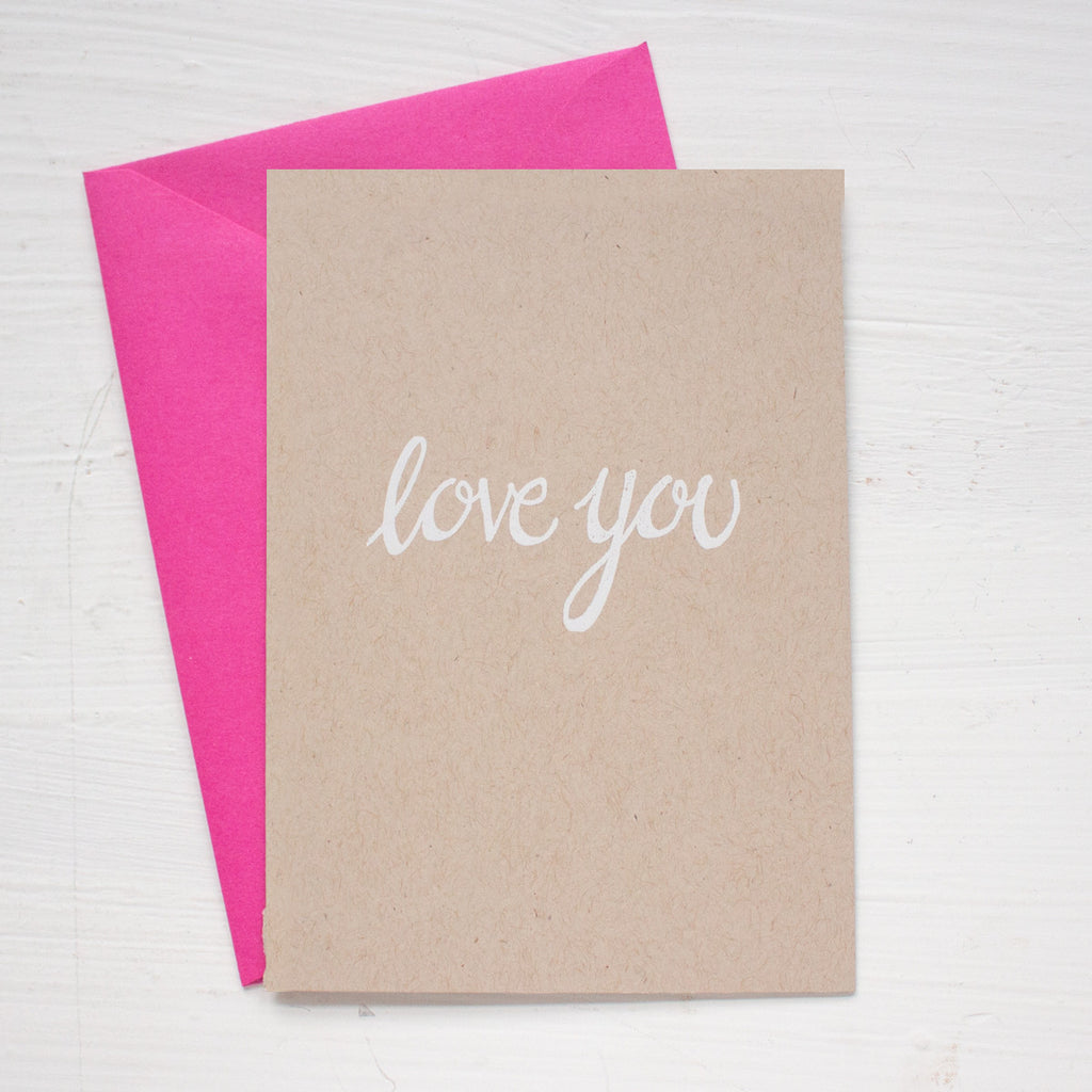 LOVE YOU kraft folded notecards