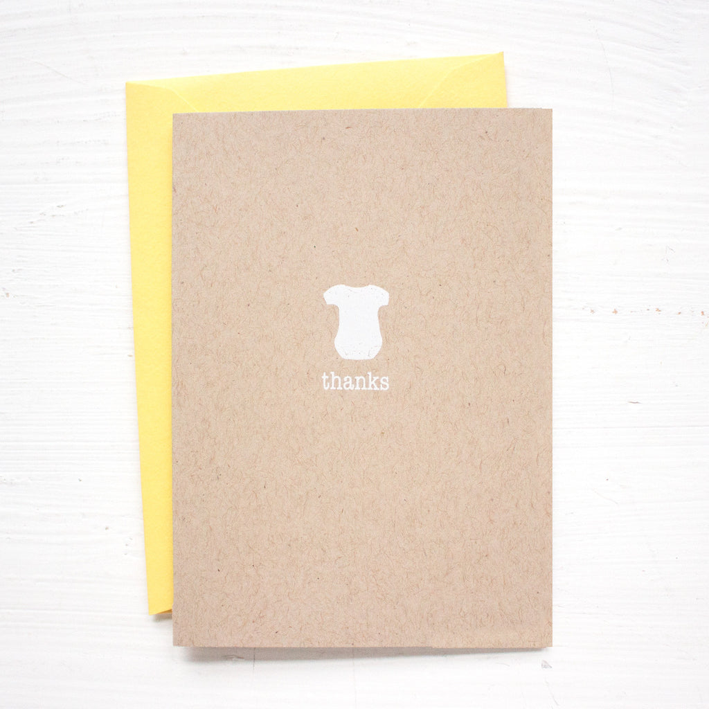 ONESIE folded kraft thank you notecards