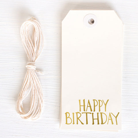 gold gift tag - happy birthday