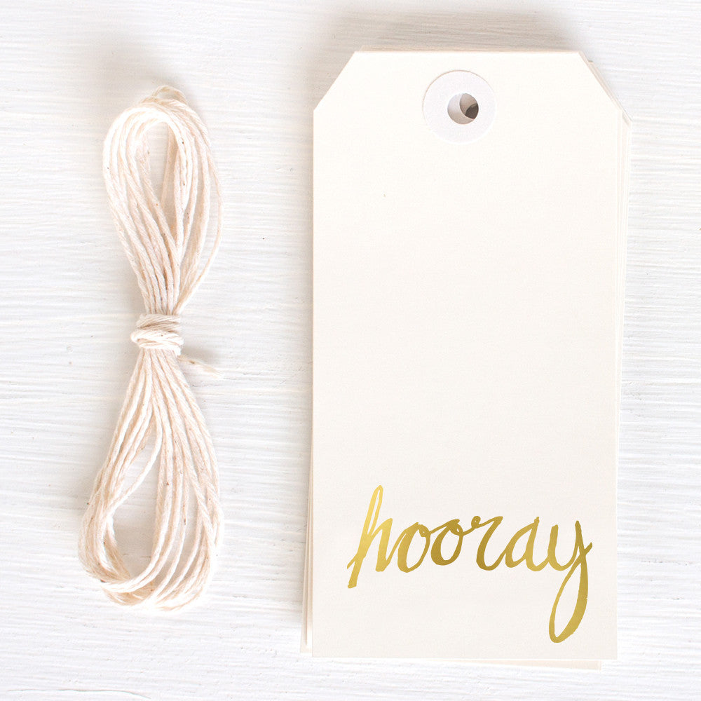 gold gift tag - hooray
