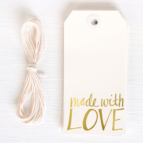 gold gift tag - made with love