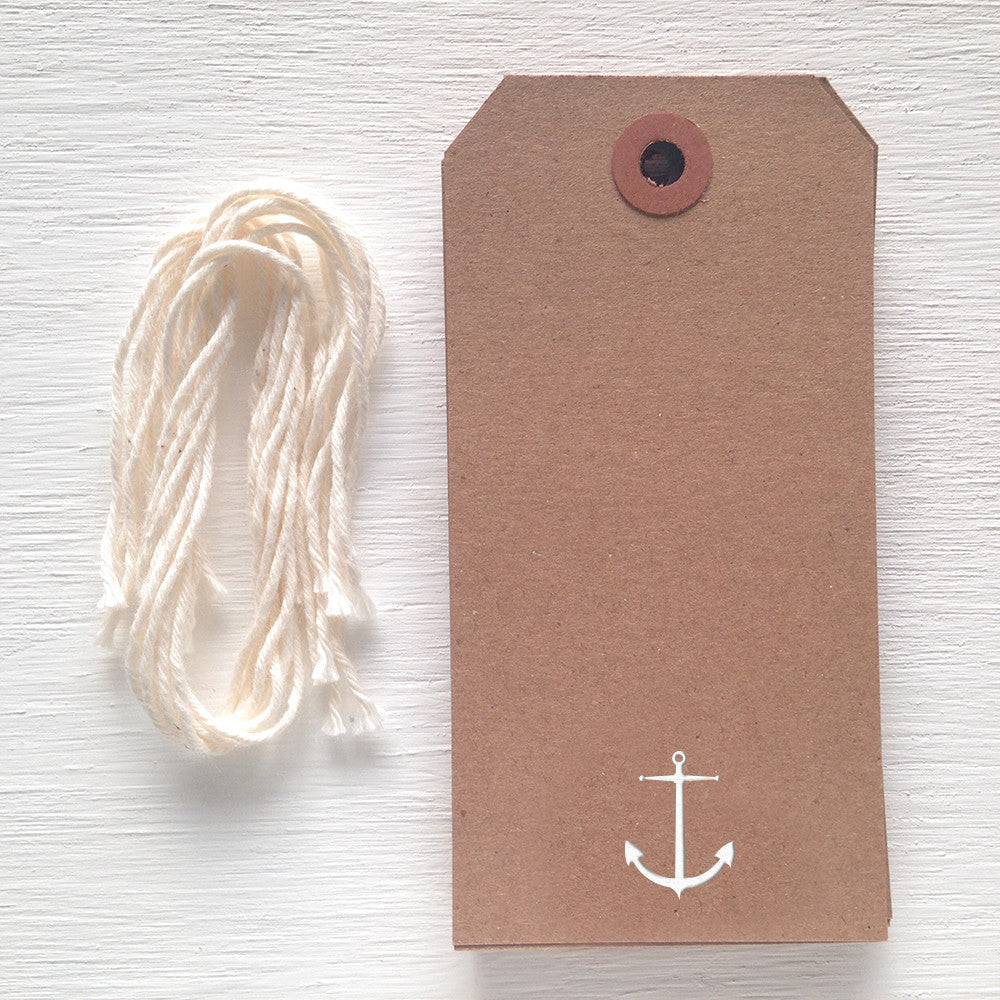 kraft gift tag with white foil anchor