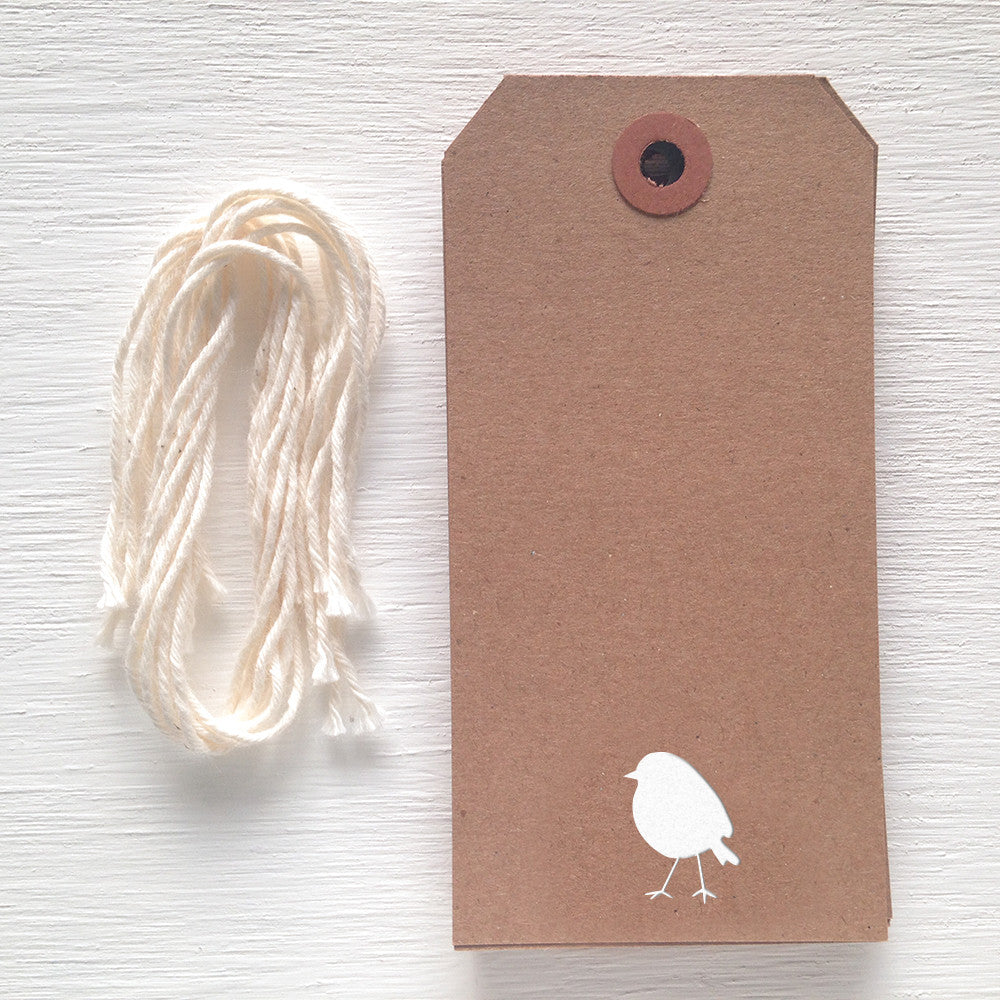 kraft gift tag with white foil bird