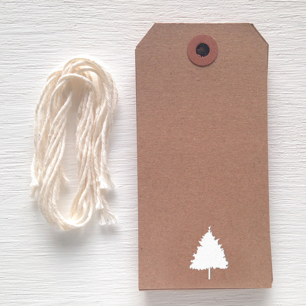 kraft gift tag - evergreen tree