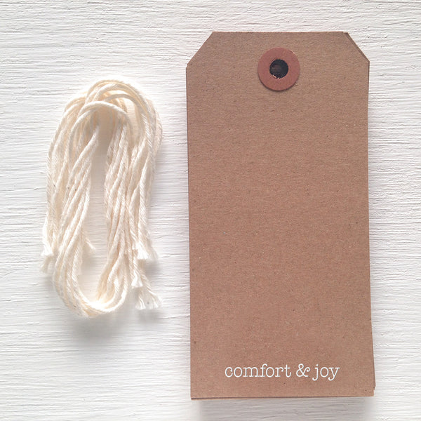 kraft gift tag - comfort and joy
