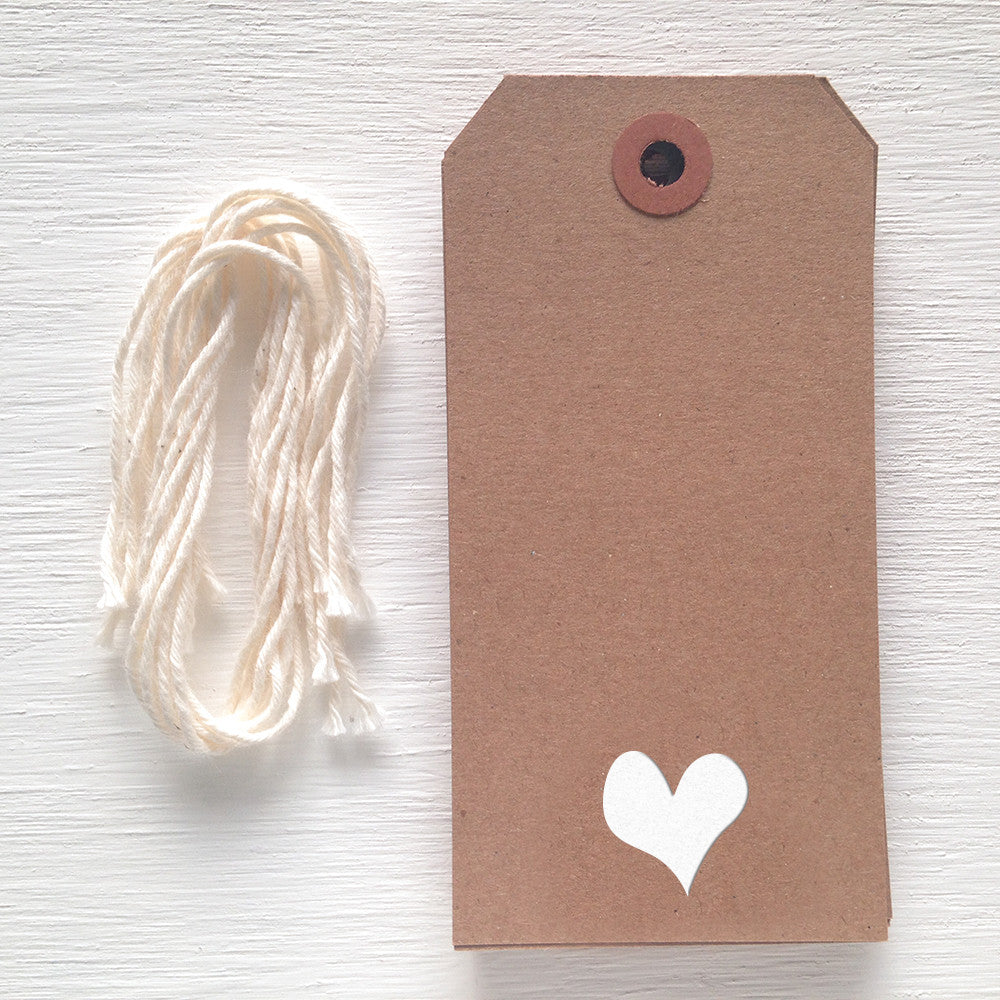 kraft gift tag with white foil heart