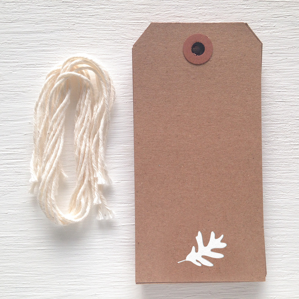 kraft gift tag with white foil leaf
