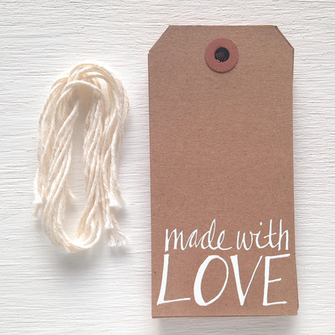 kraft gift tag - made with love
