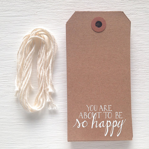 kraft gift tag - so happy
