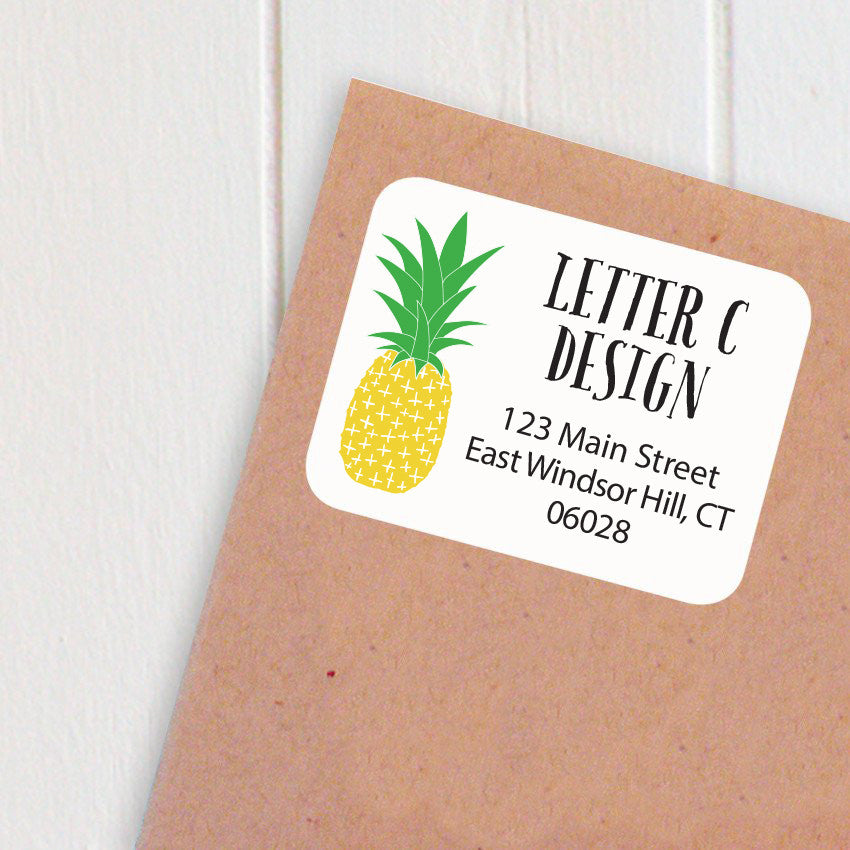 address labels pineapple
