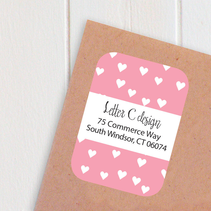 heart confetti address labels