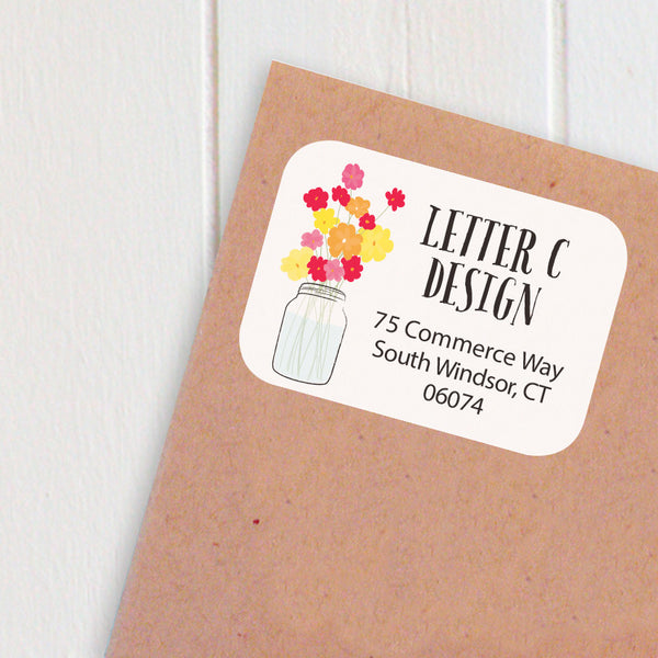 jar of flowers address labels