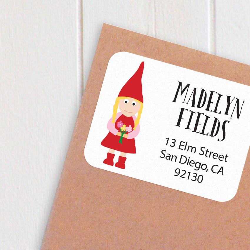 address labels gnome girl