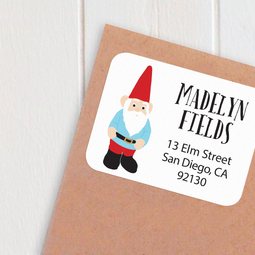 address labels gnome guy