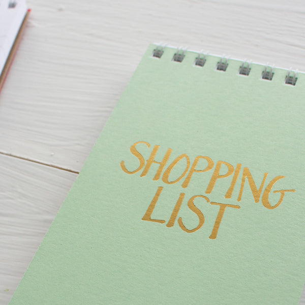 pressed mini reporter notebook - mint SHOPPING LIST