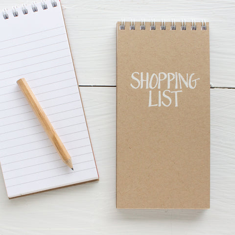 pressed mini reporter notebook - kraft SHOPPING LIST