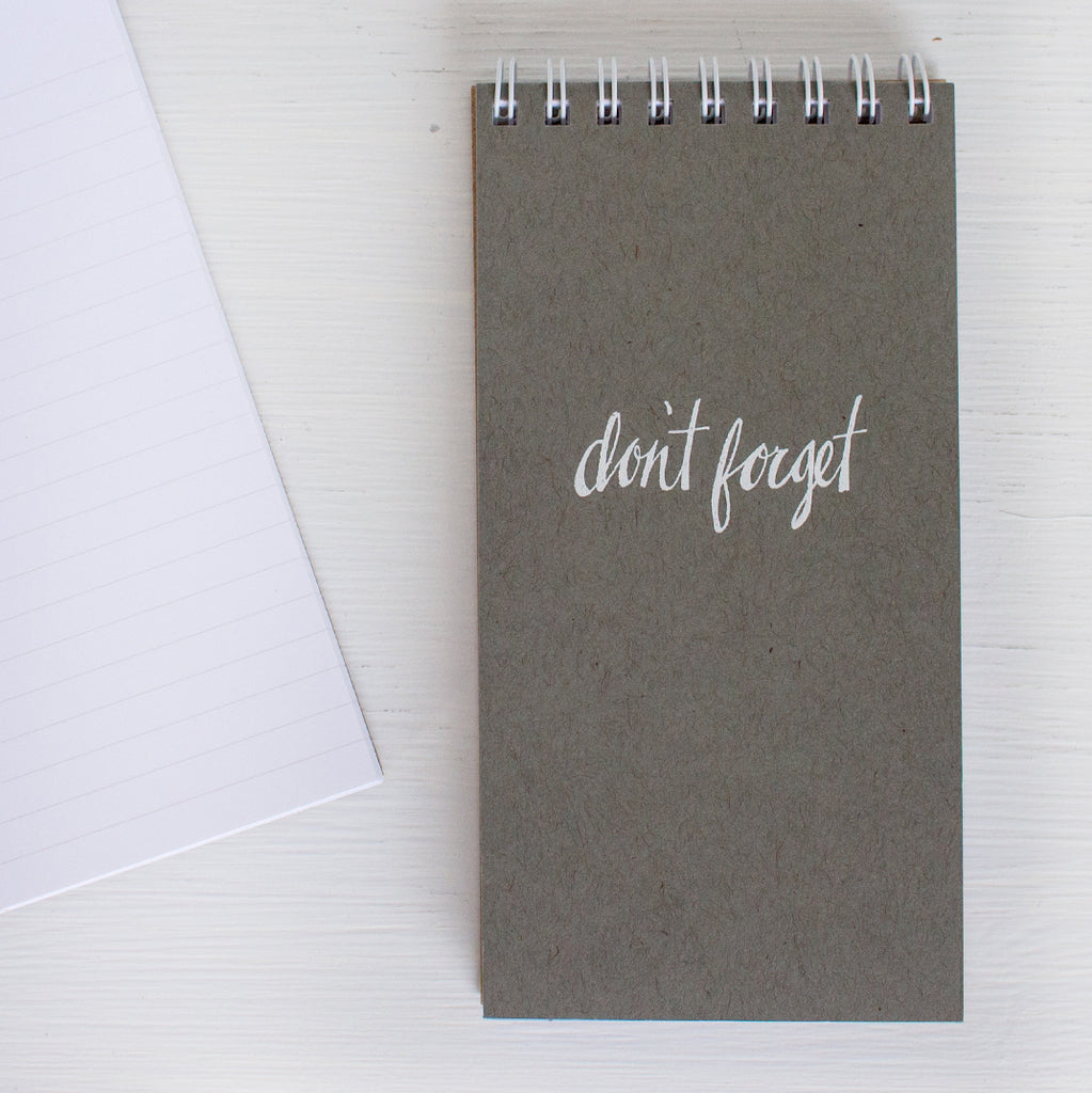 pressed mini reporter notebook - grey DON'T FORGET