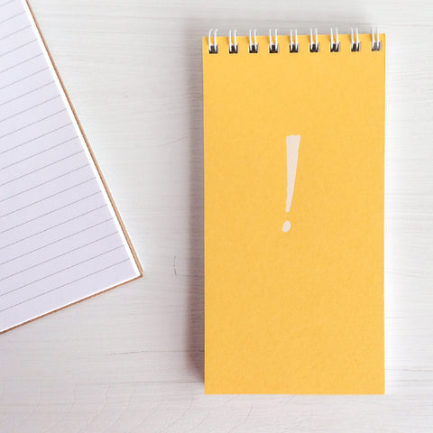 pressed mini reporter notebook - yellow exclamation point