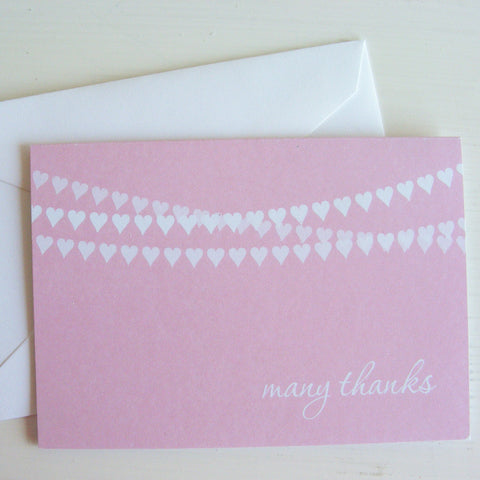 heart banner note card set