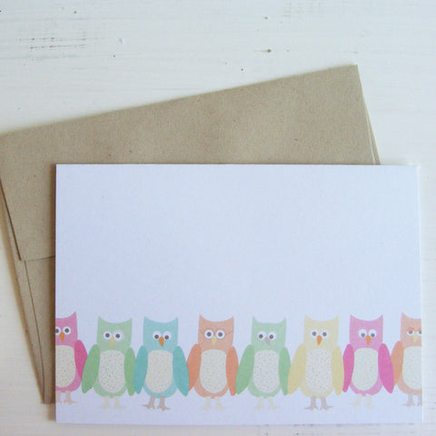 wise little owls note card set