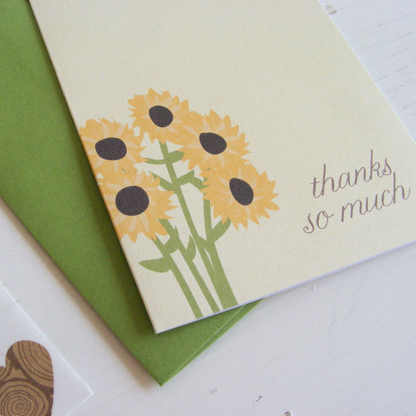 sunflowers note card set