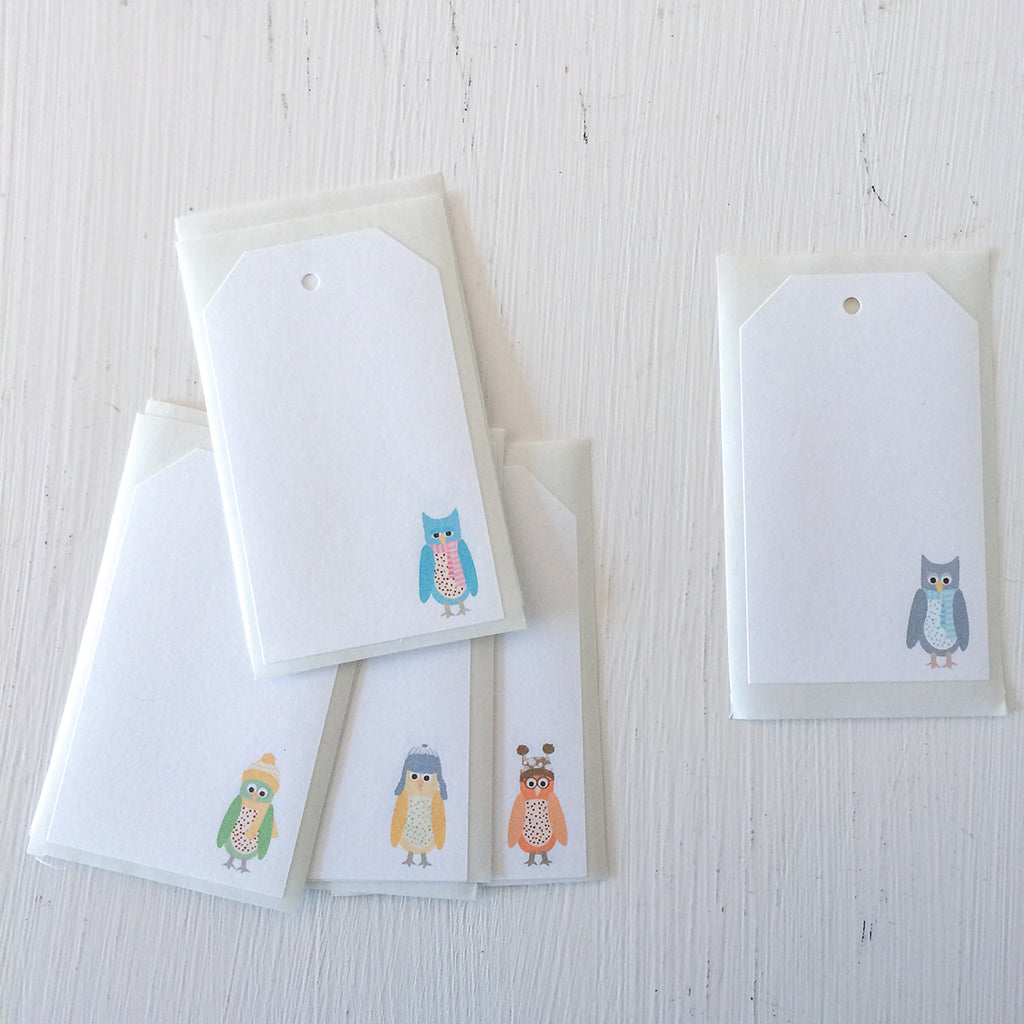 shipping tag stickers - snowy owls
