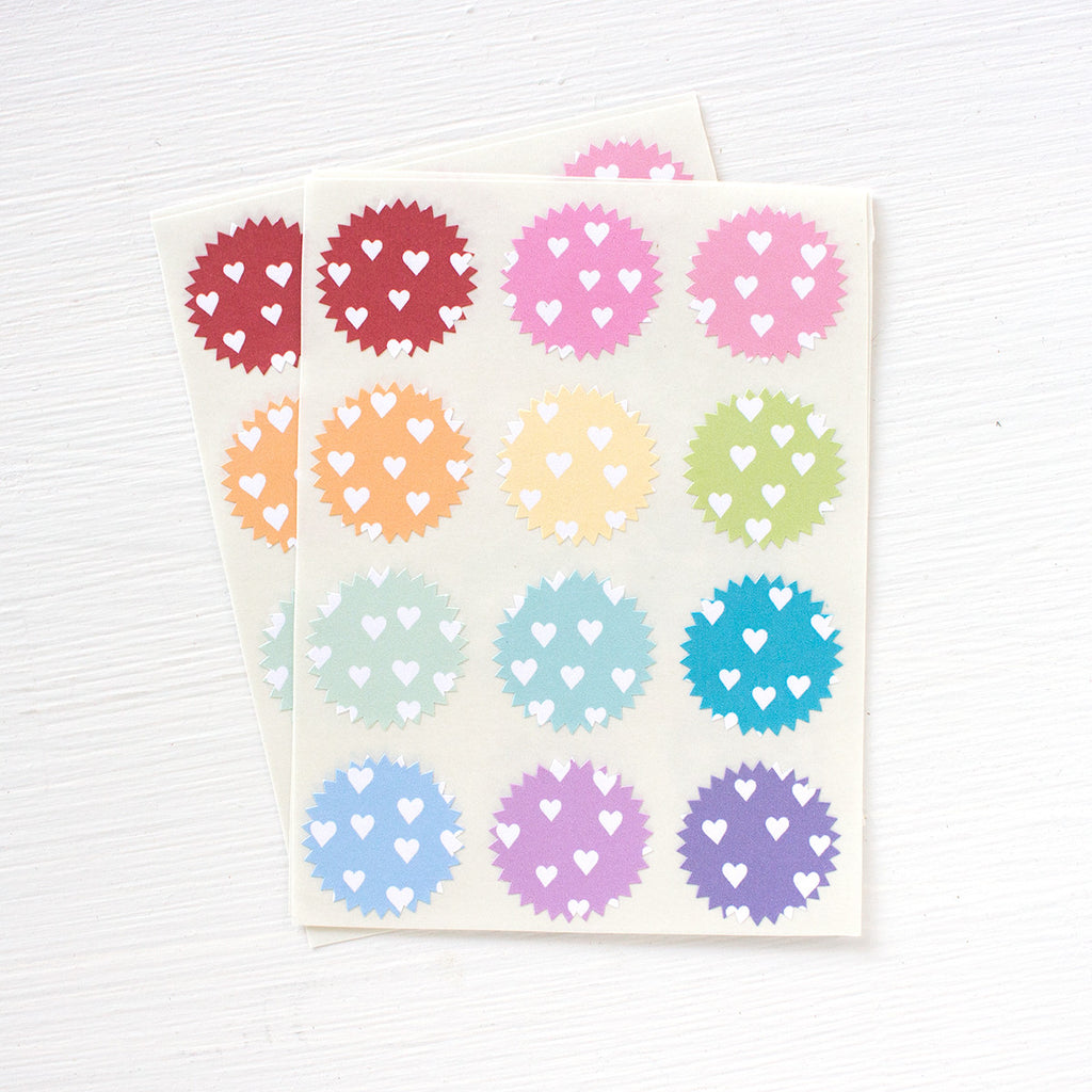 tiny starburst stickers - hearts