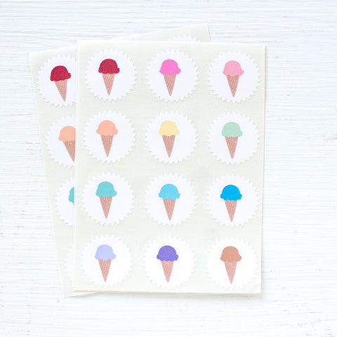 tiny starburst stickers - ice cream cones