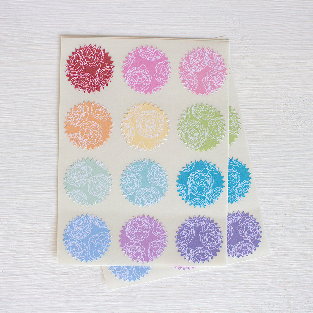 tiny starburst stickers - peonies