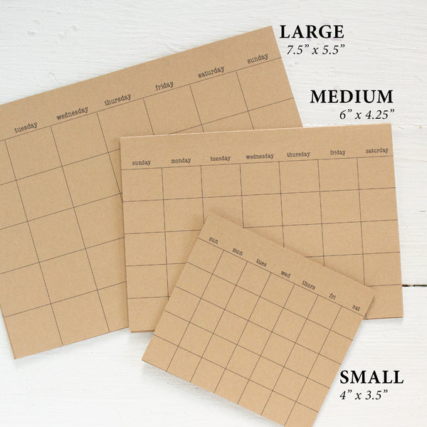kraft stick anywhere monthly calendars - small