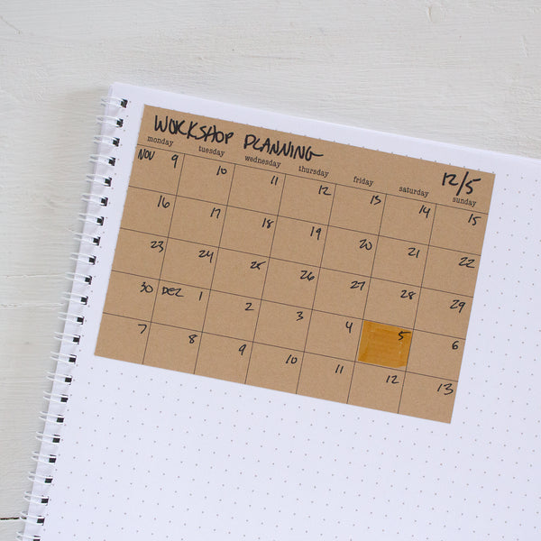 kraft stick anywhere monthly calendars - assorted