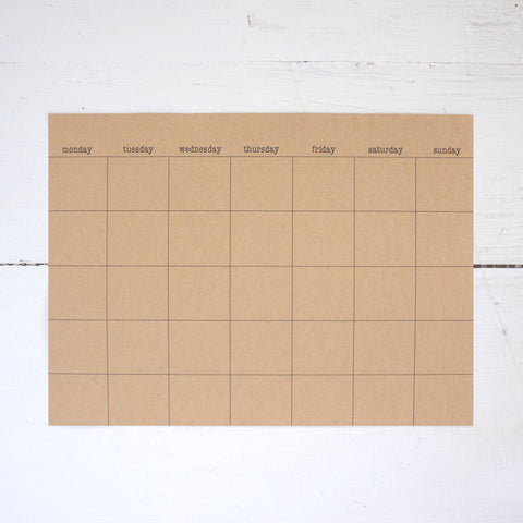 kraft stick anywhere monthly calendars - large