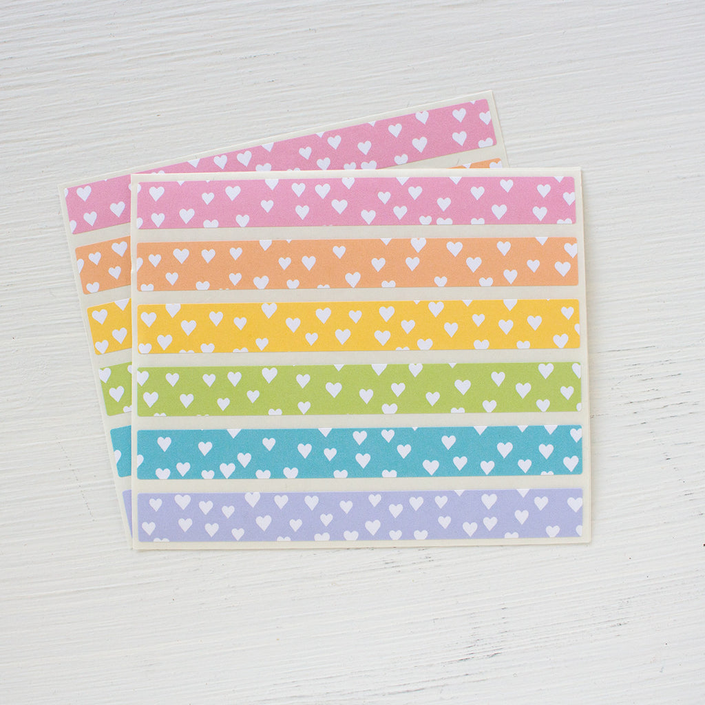 sticker strips - heart confetti