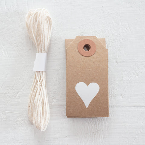 mini kraft gift tag with white foil heart