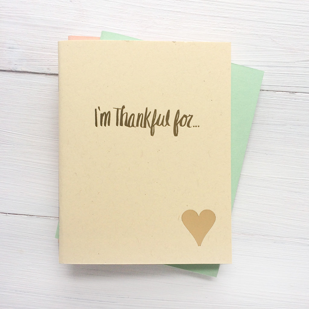 set of 3 heart i'm thankful for pressed pocket journal