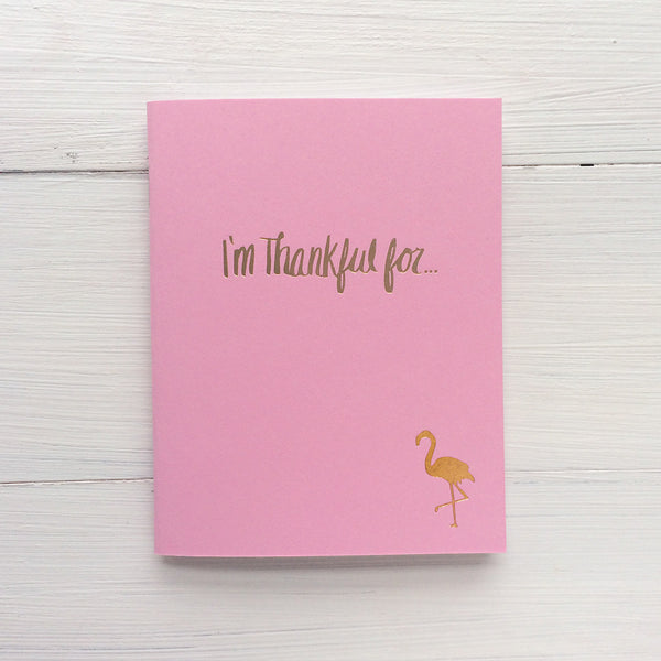 set of 3 flamingo i'm thankful for pressed pocket journal