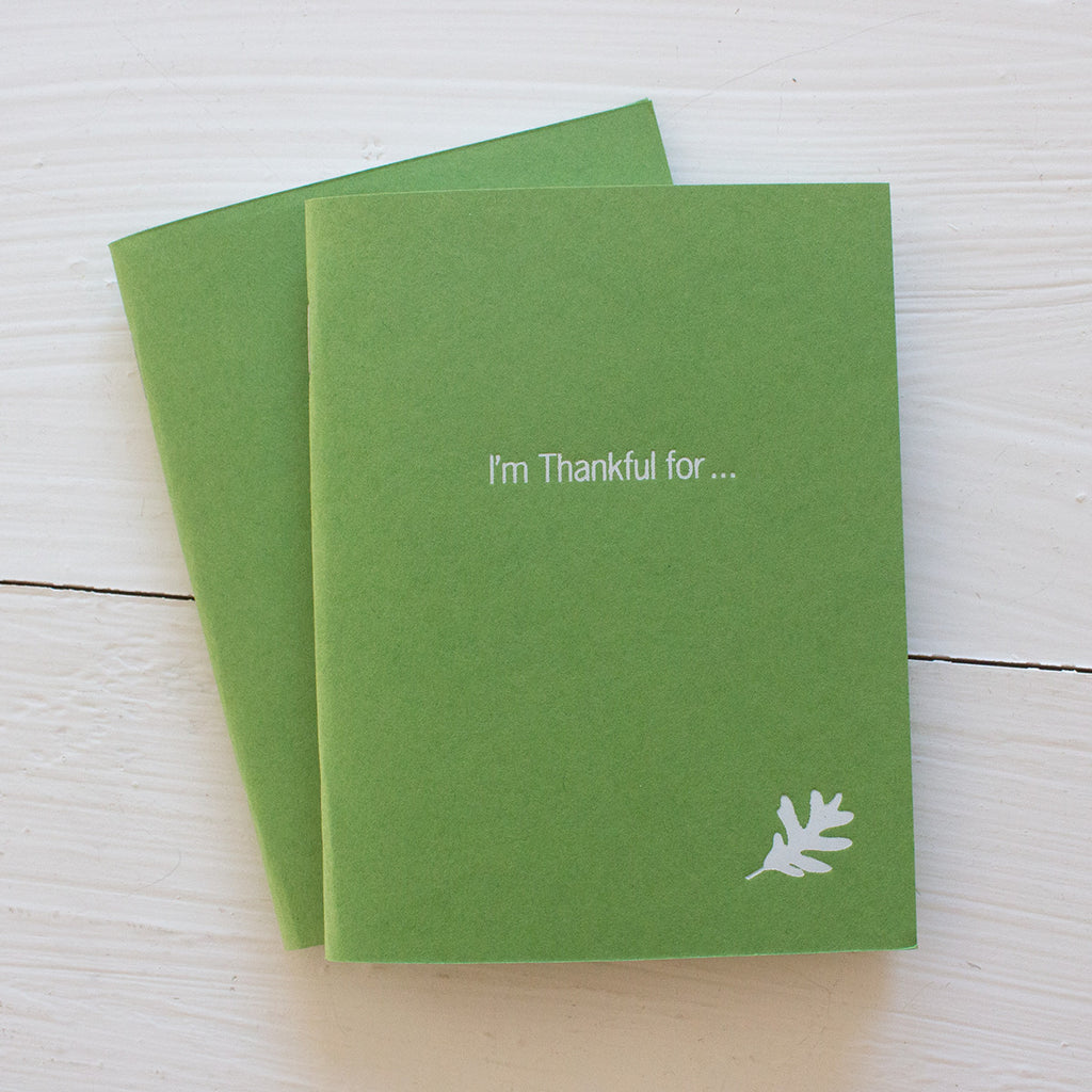 thankful pressed pocket journals in moss