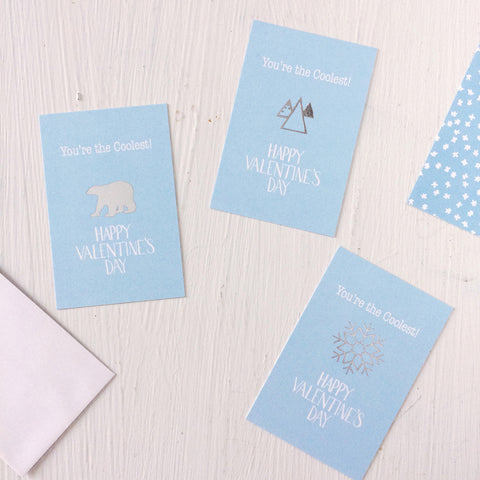 You're the Coolest - Valentine's Day cards - polar bear, snowflake, mountains