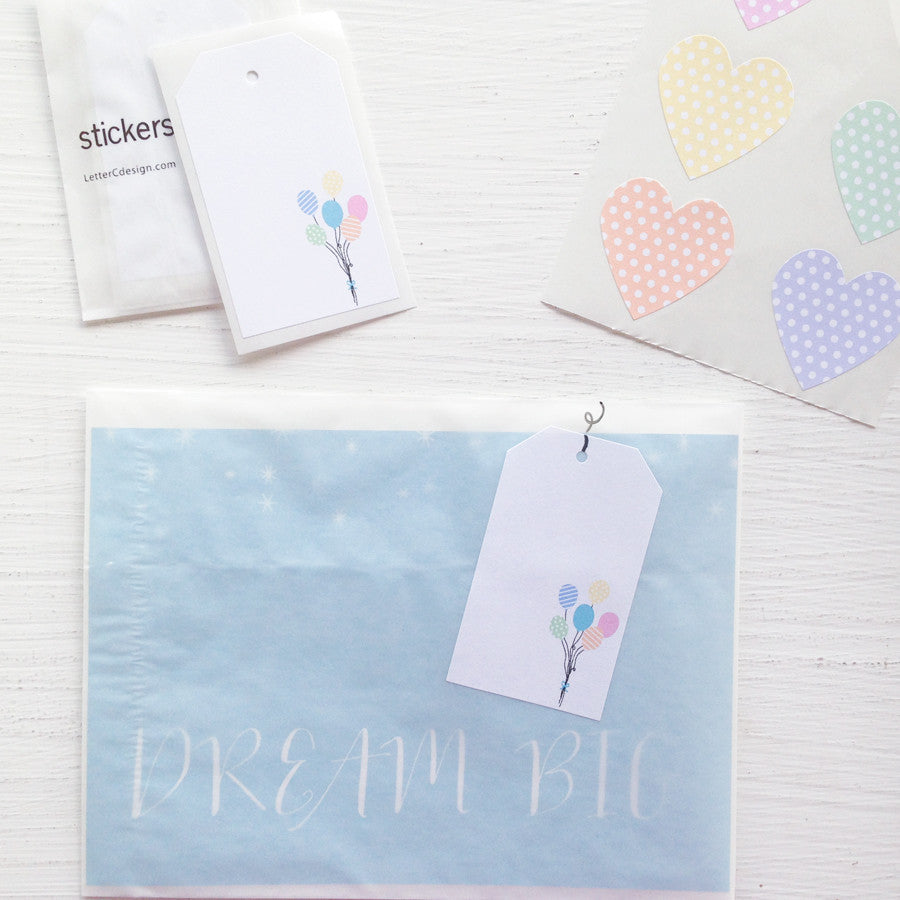 shipping tag stickers - balloons