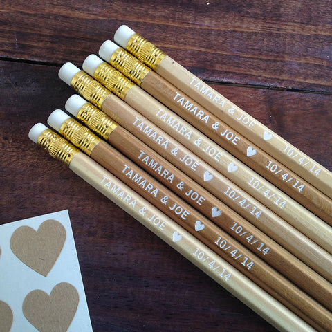 personalized heart pencils in natural wood